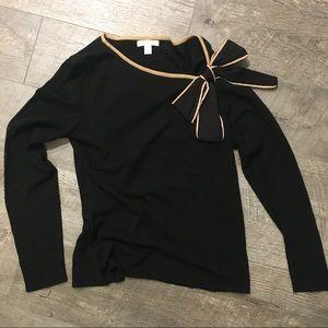 New York & Company Black Bowed Sweater